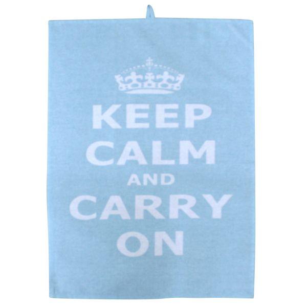 Küchentuch hellblau Baumwolle keep calm