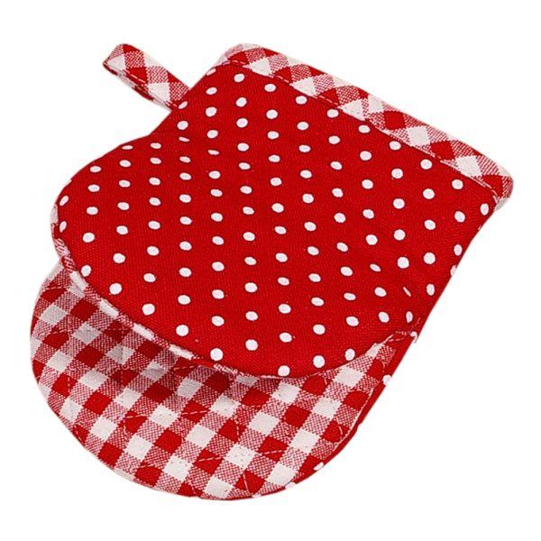 Ofenhandschuh Schnappi aus Baumwolle - Landhausstil - rot-weiss gepunktet