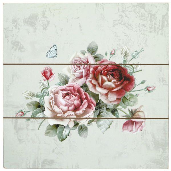 Wandbild Rose - hellgrün - 30 cm - Landhausstil