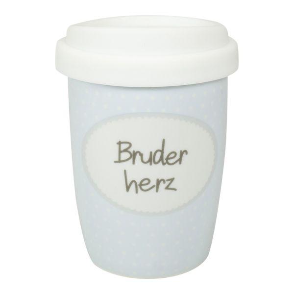 Thermobecher Porzellan hellblau Bruderherz