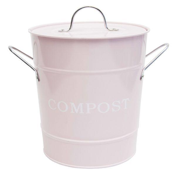 Abfallbehälter mit Deckel rosa Metall