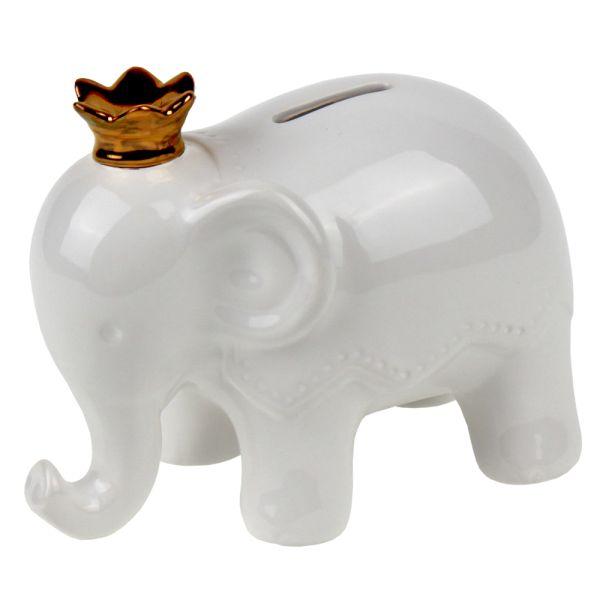 Spardose Elefant weiss Porzellan Krone