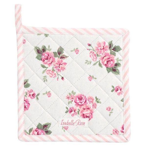 Topflappen Baumwolle weiss mit rosa Blumenmuster