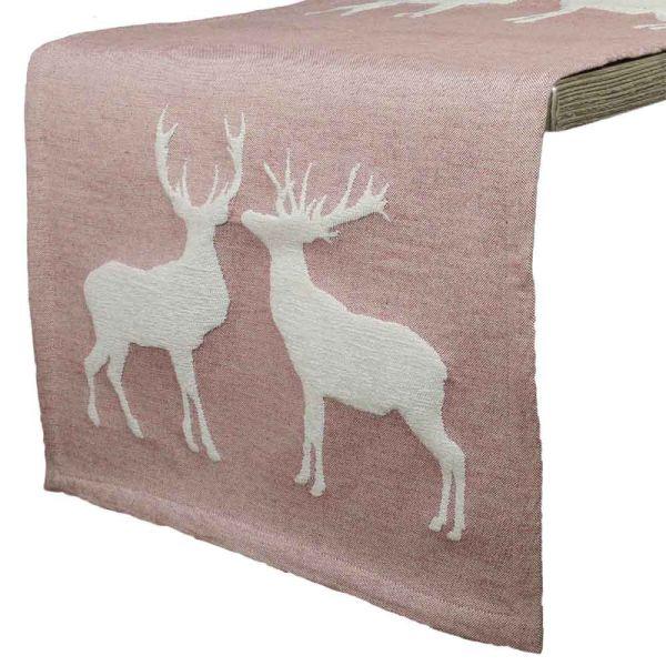 Tischläufer Hirschkuss rosa 150 cm