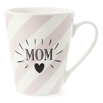 Becher MOM weiss rosa gestreift