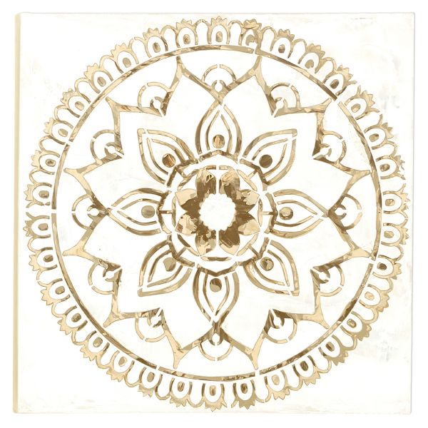 Wandbild Mandala weiss-braun - Leinwand - 60 cm