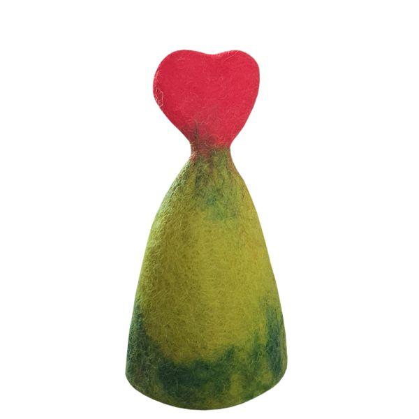 Eierwärmer Herz Filz grün rot Landhausstil