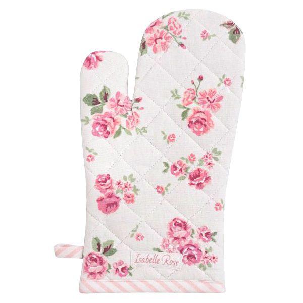 Ofenhandschuh Baumwolle weiss mit rosa Blumenmuster