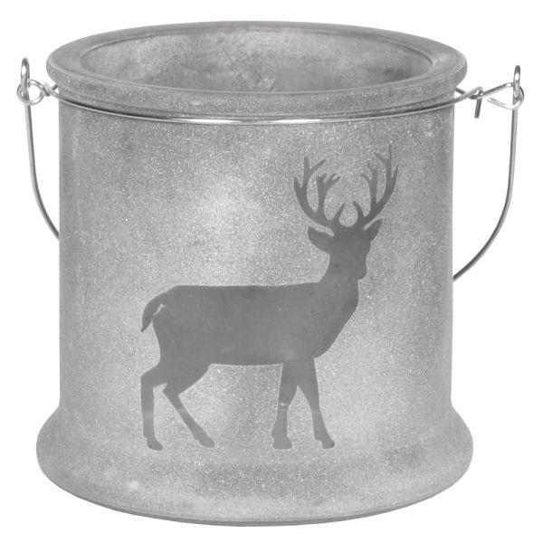 Glas-Windlicht Hirsch dunkelgrau