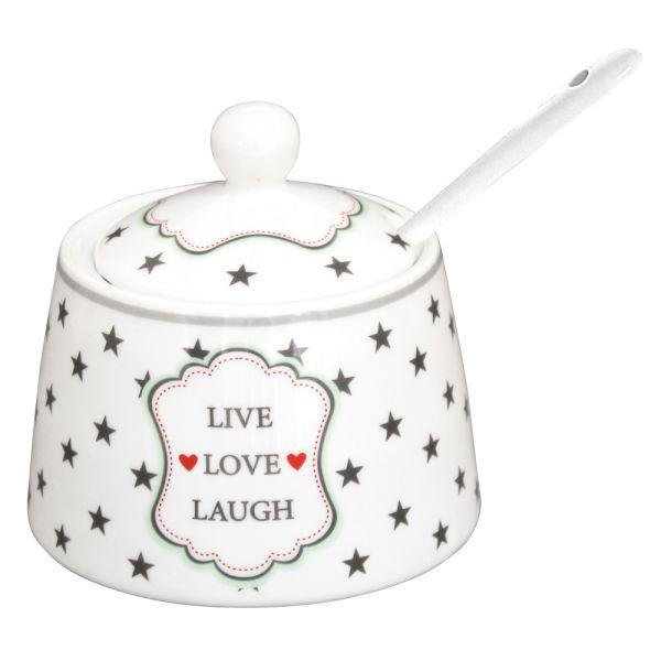 Zuckerdose Porzellan weiss Live Love Laugh
