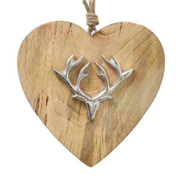 Deko-Anhänger Herz Holz Hirschgeweih silber