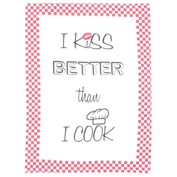 Geschirrtuch Baumwolle rot-weiss - I kiss better than I cook