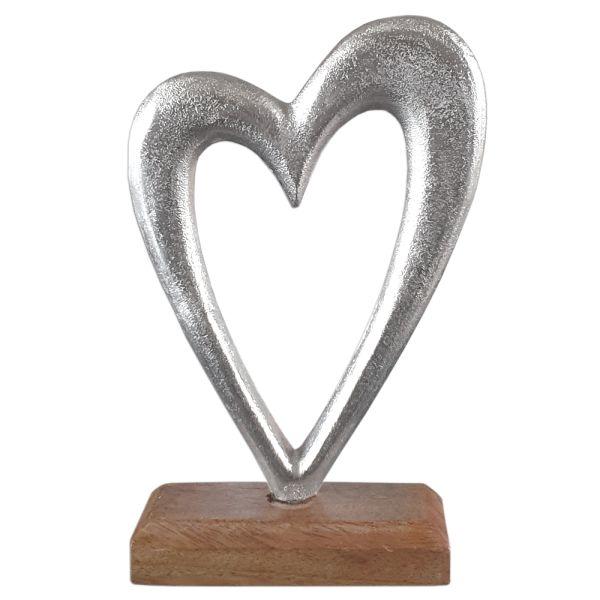Deko-Herz silber Metall Holz