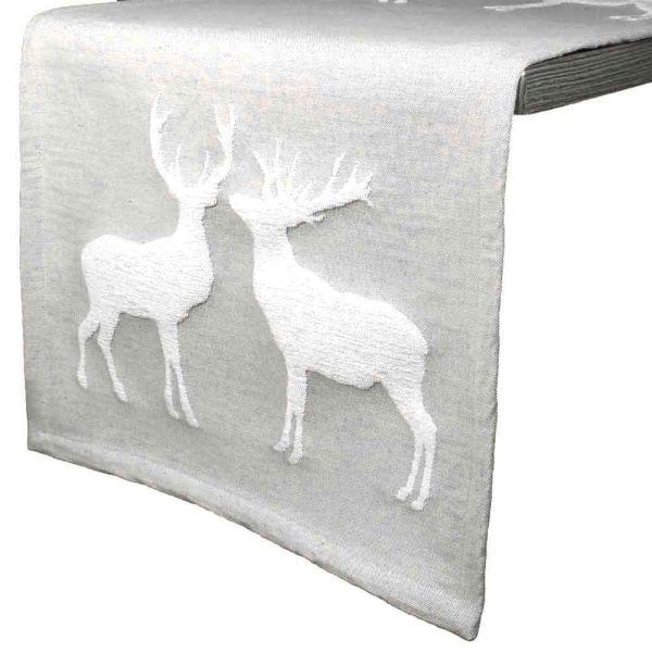 Tischläufer Hirschkuss grau 150 cm