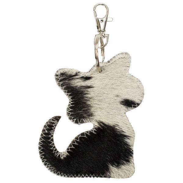 Schlüsselanhänger Katze Kuhfell schwarz