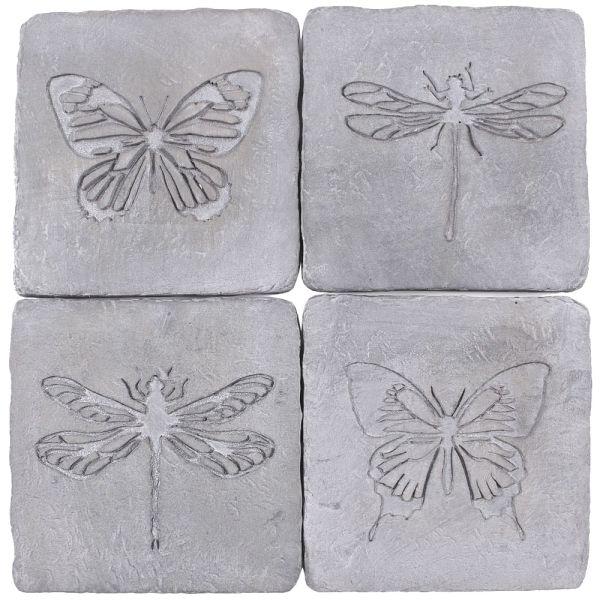 Untersetzer-Set 4tlg. Schmetterling - Libelle - Stein grau