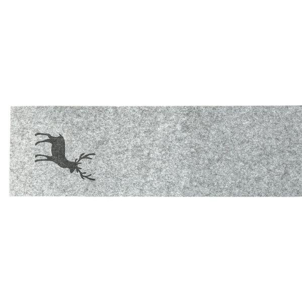 Tischläufer Filz grau - Hirsch
