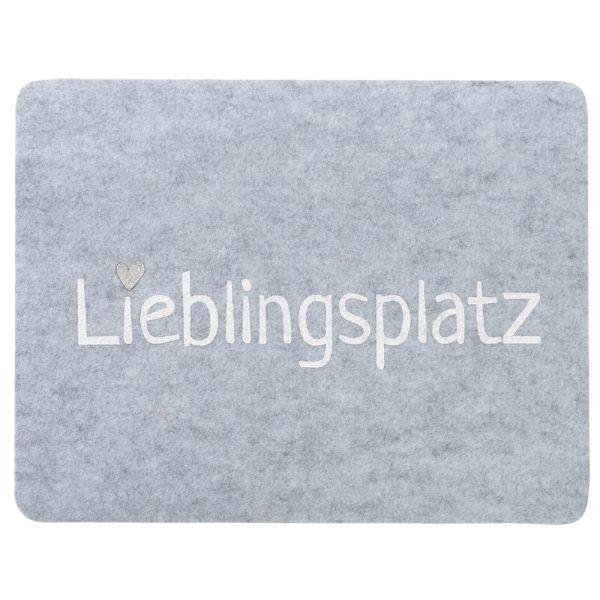 Tischset Filz hellgrau Lieblingsplatz