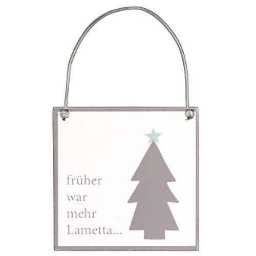 Holzschild Weihnachtsdekor taupe Lametta