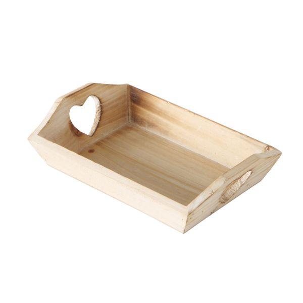 Holz-Tablett braun Herzausschnitt Landhausstil