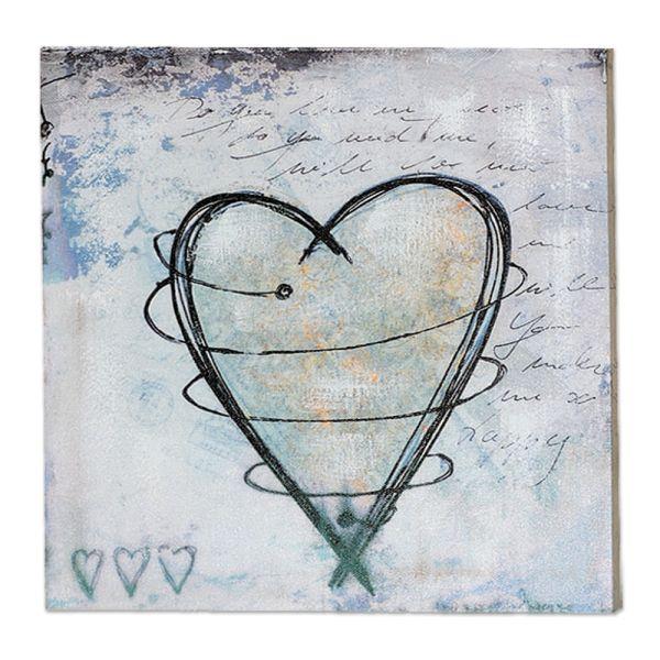 Dekobild Wandbild Herz hellgrau