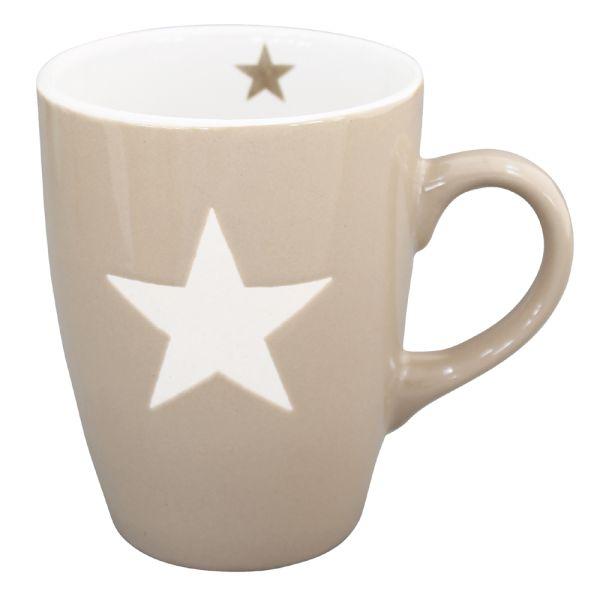 Becher Tasse Star taupe