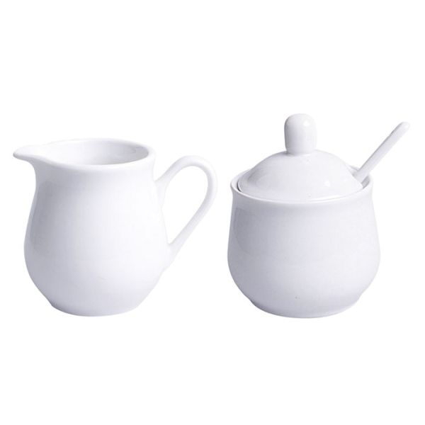 Milchkännchen-Zuckerdosen-Set 4tlg. Porzellan weiss