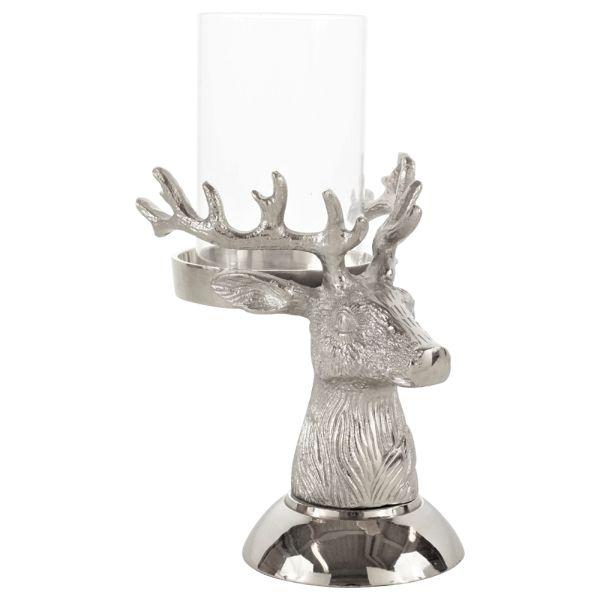 Windlicht Hirsch Aluminium silber gross