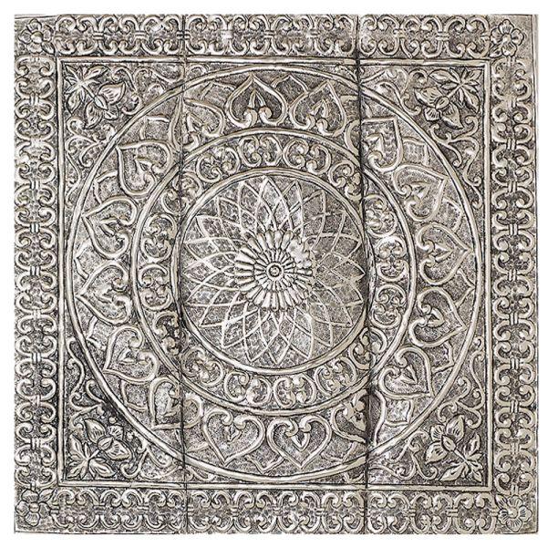 Wandbild Relief silber Aluminium quadratisch