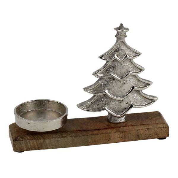 Weihnachts-Kerzenhalter Tanne Holz braun
