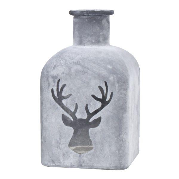 Glas-Vase eckig Hirsch rauchblau