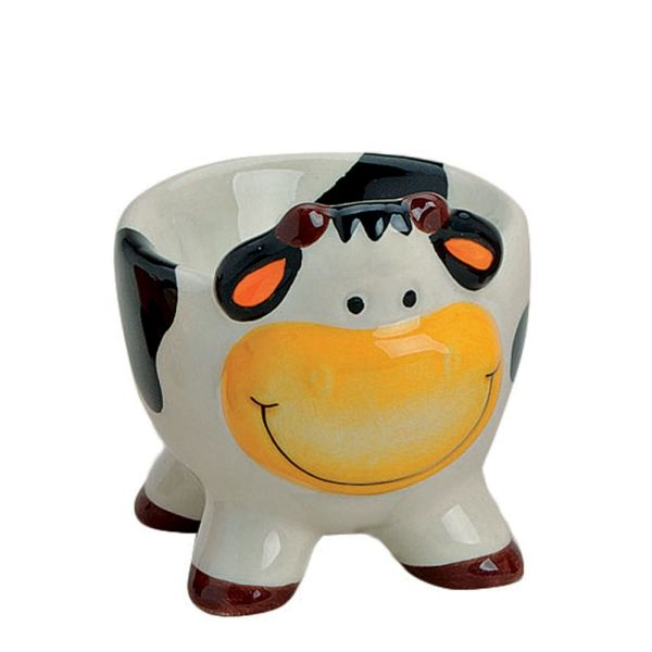Eierbecher Porzellan Kuh weiss