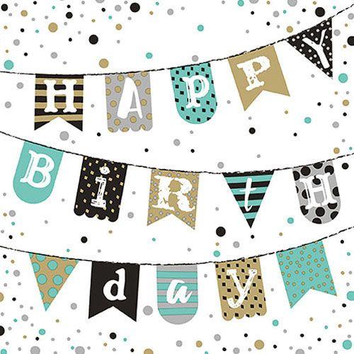 Papier-Serviette Happy Birthday grün gold