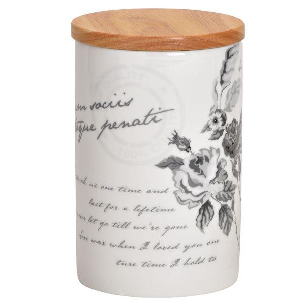 Porzellan-Vorratsdose weiss - Bambusdeckel - Blumen und Schriftzug Landhausstil