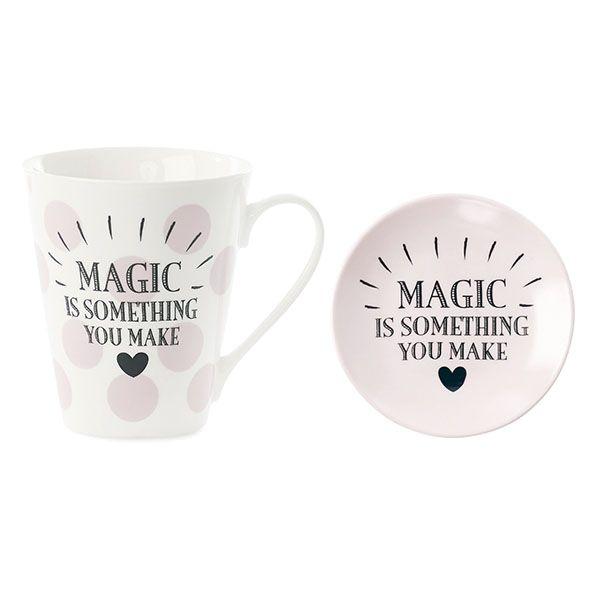 Becher und Miniteller MAGIC rosa weiss