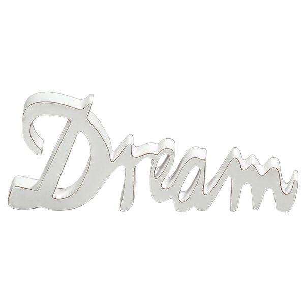 Schriftzug Dream Holz weiss