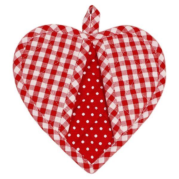 Topflappen aus Baumwolle - Landhausstil - Herzform - rot-weiss kariert
