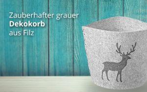 Korb Filz grau Hirsch - gross