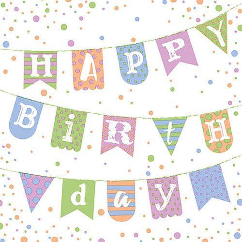 Papier-Serviette Happy Birthday rosa blau