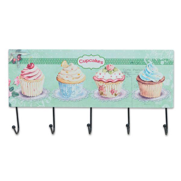 Kleiderhaken Cupcake grün 5 Wandhaken