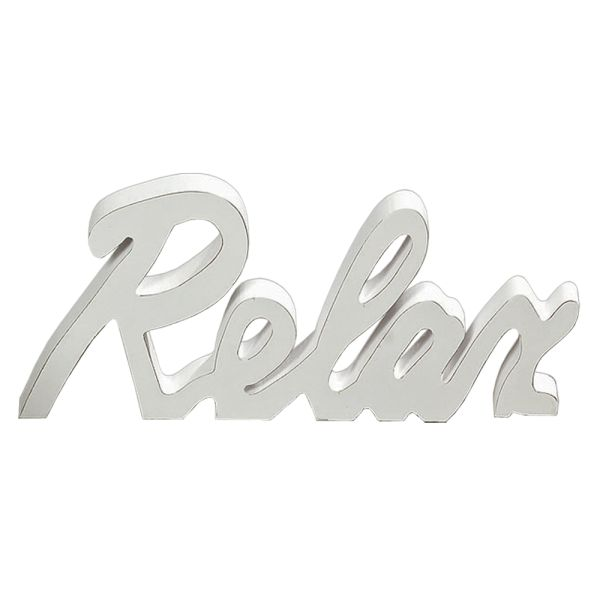 Schriftzug Relax Holz weiss