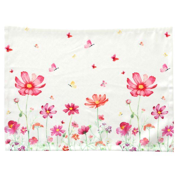 Tischset Blumenmeer - weiss-pink - Polyester