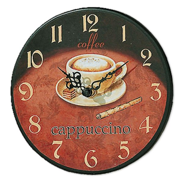 Wanduhr Küchenuhr Coffee gross cappuccino