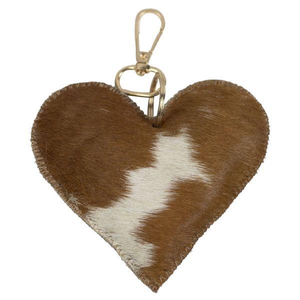 Schlüsselanhänger Herz - Kuhfell braun