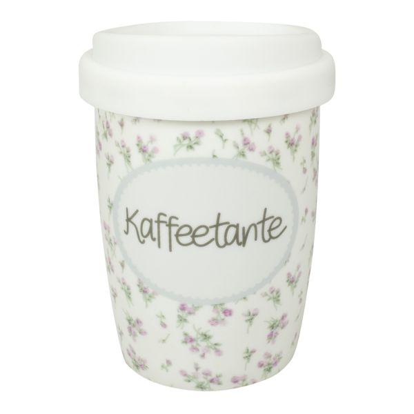 Thermobecher Porzellan weiss Kaffeetante