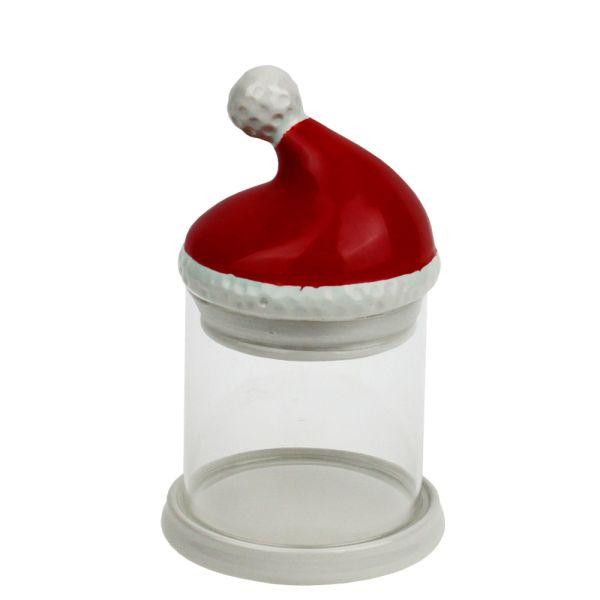 Glasdose Weihnachtsmütze rot-weiss