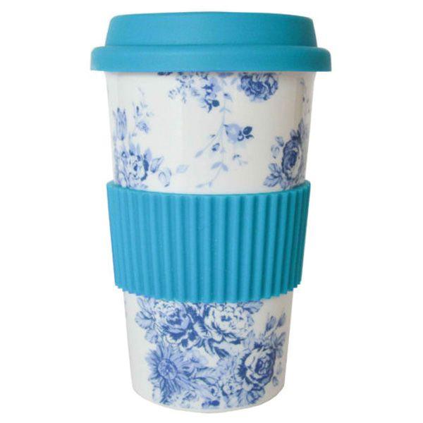 Thermobecher Reisebecher Porzellan weiss Blumenmotiv blau