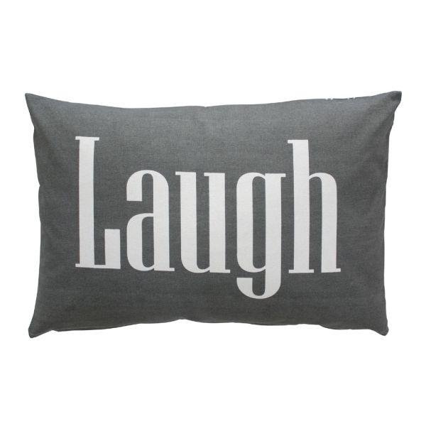 Kissenüberzug Laugh dunkelgrau