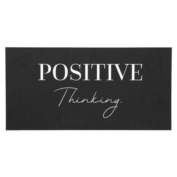 Metallschild schwarz - 40 cm - Positive Thinking