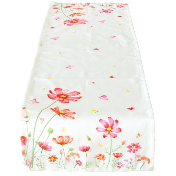 Tischläufer Blumenmeer weiss-pink - Polyester